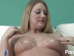 Mastubating blonde