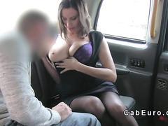 Busty romanian amateur fucks in cab