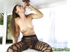 Pantyhose masseuse sucking of his clients hard cock
