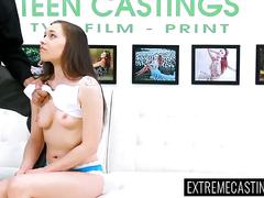 Roped teen tricked during a casting and fucked mercilessly