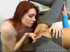 lesbian, petite, schoolgirl, redhead, pussy licking