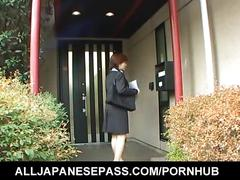 Yukino in uniform gives blowjob to mailman and gets cum on mouth