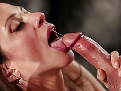 ariella ferrera, brunette, blowjob, riding, doggystyle, cumshot, busty, cowgirl, mature, sucking
