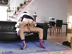 She takes the cock and the funky socks