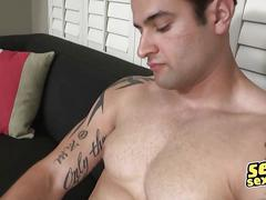 handjob, masturbation, muscle, big cock, cumshot, gay, hairy, solo, tattoo, wanking