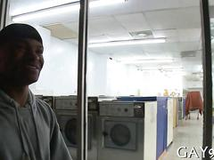 Black amateur gets his ass fucked in a laundry room