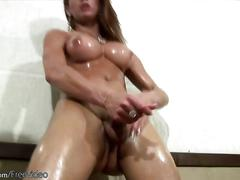 Naughty tgirl strokes her shemeat while bouncing big titties