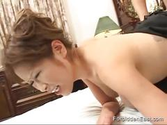 Beautiful oriental woman bent over and fucked hard doggy style