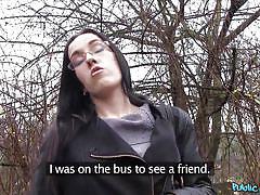 Public blowjob by a shy babe