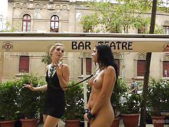bdsm, outdoor, blowjob, humiliation, handcuffed, sex slave, public disgrace, busty babe, on leash, public disgrace, kink, miguel zayas, mona wales, julia de lucia