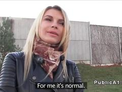 Pretty tall blonde fucks in public