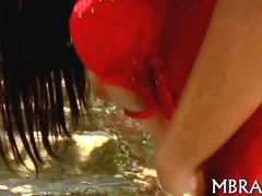 Raven from brazil sucks dick and fuck in her red lingerie outside