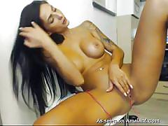 babe, solo, masturbation, piercing, busty, rubbing, tattooed, black hair, live cam, gf melons, the gf network