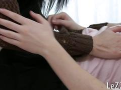 Brunette honey wriggles her ass while getting stripped and toyed