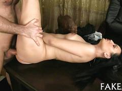 Skinny raven gets her ass nailed during a fake casting