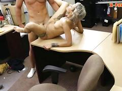 Black bf let the pawn guy to fuck his gf at the pawnshop