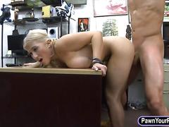 Busty blonde stripper fucked by pawn guy at the pawnshop