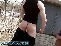 Blond stud bangs his buddy out in public behind a building