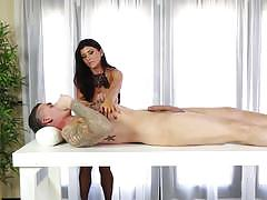 Cock loving masseuse romi rain creams cock