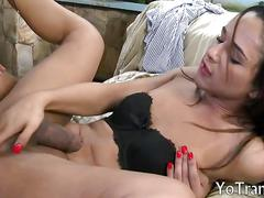 Pretty brunette tranny gets her asshole pounded outdoors