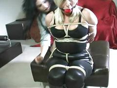 amateur, blonde, bondage, fetish, duct-tape-gagged, rope-bondage, strict-bondage, hogtied, tied-up, gag, sex-toy, bound, brunette, high-heels