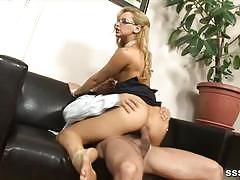 Hot blonde rides this stiff cock