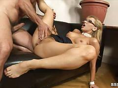 Hot blonde rides this stiff cock