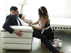 babe, brunette, titjob, cock sucking, big penis, role play, maid uniform, dillion harper, erotica x, damon dice, dillion harper