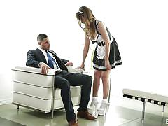 Busty maid sucks big boss dick @role playing