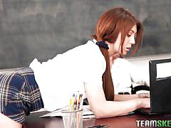 teen, redhead, schoolgirl, blowjob, pussy licking, on the table, in school, teacher and student, innocent high, team skeet, jojo kiss