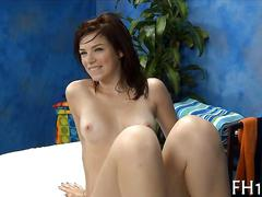 Brunettes shaved teen pussy rubbed and slammed during a massage