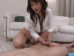 Asian nurse, ayumi iwasa, devours cock between her hands