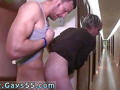 Blonde twink getting his ass fucked in a public hallway doggy style