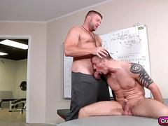 Coach pounding on connor in locker room