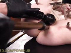 Beautiful blonde brutalized in bondage