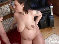 Pregnant brunette sucking hard cock