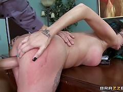 Raven bay takes her bosses massive cock to the balls