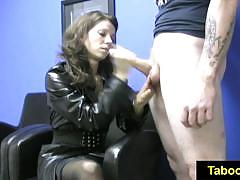 Racy mistress tugs on this hard dick