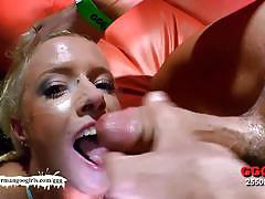Nasty amateurs doused with cum