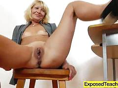 Blonde milf dildo fucks her warm slot