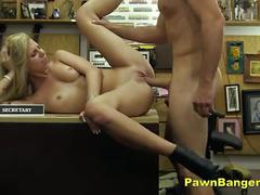Blonde slut takes shopkeepers cock for cash