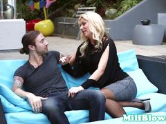 Busty milf outdoors gagging while cocksucking