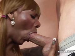 Tranny boy has a fat dick to suck and gobble