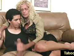 Blonde babe jerks this hard dick