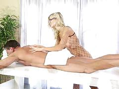 amanda tate, blowjob, cumshot, facial, glasses, blonde, handjob, heels, wank, oil, fishnet, massage, glory hole, jerk off, sucking, gloryhole