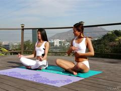 Alina li and veronica rodriguez - my first yoga class
