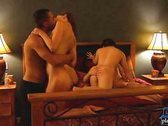 Adventurous amateur couple swinging with a full swap