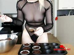 Seethrough lingerie wearing baking babe