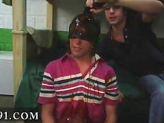 Blindfolded college pledge hazes and covered with hot cum