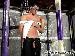 Blindfolded twink get his dick sucked deepthroat in bondage